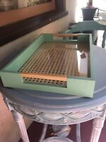 NEW Rare *Mint Green* Wood Rattan Glass Serving Tray Handles Breakfast in Bed