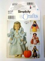 """Simplicity Crafts 8252 Pattern 18"""" Doll Clothes Shirley Botsford Uncut 1998"""