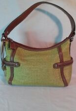 Fossil Handbag, Purse, Medium, Green/Brown, Straw, Zipper, Modern Vintage