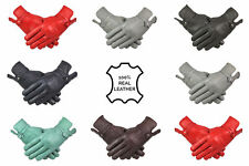Womens 100% Leather Gloves With Flower Design Warm Winter Fleece Lined All Size