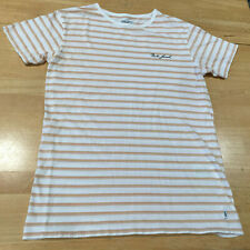 Banks Journal Tan/White Stripe Cotton Tshirt w/ Embroidered Logo - Men's S