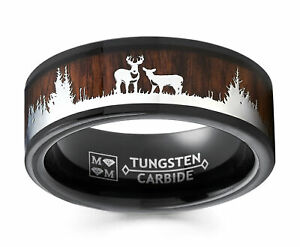 Men's Tungsten Hunting Ring Wedding Band Wood Inlay Deer Stag Silhouette