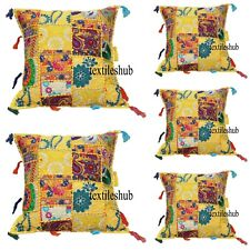 "16"" Indian Patchwork Handmade Cushion Cover Ethnic Sofa Decor 5 Pcs. Set Yellow"