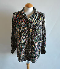 Ladies Missguided Black Floral Printed Collared Shirt Blouse Oversized Size 8 UK