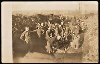 AMERICAN ARMY OPENING A TRENCH WW1? ANTIQUE RPPC PHOTO POSTCARD