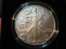 Two 2008-W Burnished Unc Eagle 1-oz Silver Dollars - Two Different Types