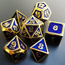 Dungeons and Dragons Dice Set: Blue and Gold Metal  D&D, d20, dnd, roleplaying