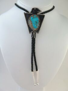 Large Old Pawn Sterling Silver & Gorgeous Turquoise Thunderbird Shaped Bolo Tie