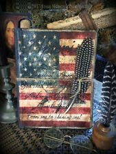 Primitive American Flag George Washington Colonial Journal Cupboard Tuck
