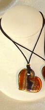 Murano Glass Heart Fallen in Love Amber on Cord MADE IN ITALY Gift Boxed G'teed