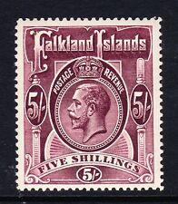 FALKLAND ISLANDS 1912-20 5/- REDDISH MAROON SG 67a MINT.