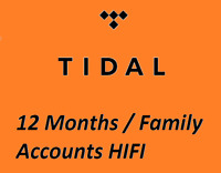 12 Month Tidal Hi-Fi  FAMILY Masters Quality NEW WORLDWIDE