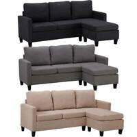 3 Colors Linen Fabric Sectional Double Chaise Longue Combination  L-Shaped Sofa