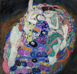 """nude art painting canvas klimt gustav vintage 39"""" x 39"""""""