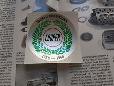 John Cooper Rover Classic Mini Rsp Nos Silver Boot Decal Sticker S Works Mpi 998