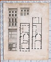 1823 PRINT ARCHITECTURE FIRST RATE HOUSE PLAN ELEVATION