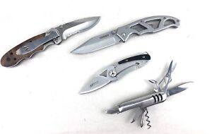 Lot Of 4 Pocket Knives Gerber 4660916A Winchester Mtech Swiss Style Combo Blade