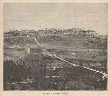 A1357 Orvieto - Veduta - Xilografia - Stampa Antica del 1895 - Engraving