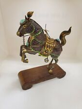 Vintage Chinese Silver Gold Plate Filter Enamel Horse