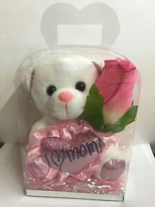 """Small 6"""" White Teddy Bear """" I Love You  Mom """" Rose ,Clear Gift Box Mother's Day"""