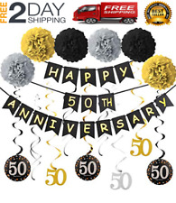 50th Anniversary Decorations Kit - Wedding Party Supplies Including Gold Glitter