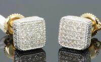 18K Gold Square Cube AAA zircon Ear Stud Earrings for Men Women Gifts Jewelry