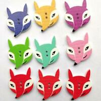 Mixed DIY Wooden Scrapbooking Buttons Cartoon Sewing Two-Eye Fox Craft JJ
