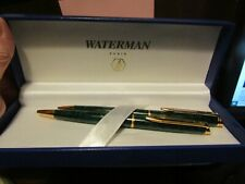 WATERMAN PEN AND PENCIL SET FROM FRANCE IN ORIG BOX GREEN MARBLIZED W/ GOLD TRIM