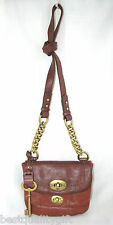 NEW FOSSIL MASON BROWN+COGNAC LEATHER,BRASS CROSSBODY/HAND BAG+MULTI-FLAP