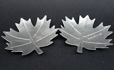 Mid Century Aluminum Maple Leaf Pin Dish x 2 Figural Punch Vein Detail G Farkas