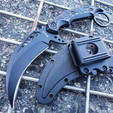 "9.5"" Black Tactical Full Tang Talon Fixed Blade Hunting Survival Karambit Knife"