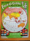 Vintage 1940s Fold-O-Globe Folding Map of the World With Store Cardboard Backing