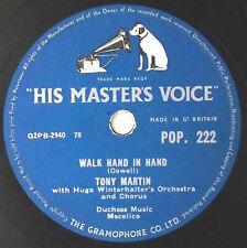 "Tony Martin - Walk Hand In Hand / Flamenco Love10"" 78rpm 1956 UK  HMV"
