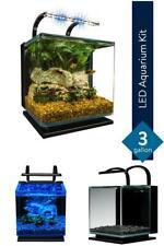 Marineland Contour Aquarium Kit 3 Gallons Rounded Glass Corners LED Lighting New