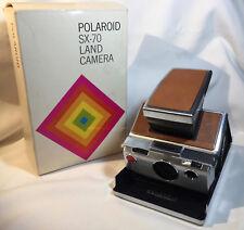 Vtg Polaroid SX-70 Land Camera Folding Chrome Tan Leather Instant Camera w/Box