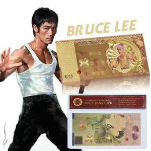 Bruce Lee 100 RMB Chinese Kungfu Star Gold Banknote Souvenir In COA Sleeve