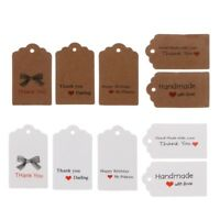 100PCS Retro Kraft Paper Gift Cards Handmade Price Tags for Wedding Birthday