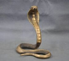 "8""Chinese China Handmade Brass Bronze Statue Lucky Cobra Sculpture"