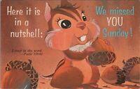 In A Nutshell We Missed You Sunday! Eisenhower Stamp Chrome Vintage Postcard