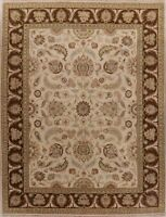 Floral Oriental Oushak Area Rug Ivory Wool Hand-Knotted Traditional Carpet 9x12