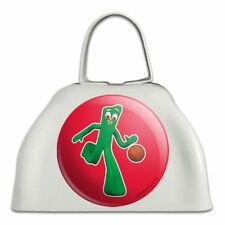 Sporty Gumby Basketball Player Clay Art White Metal Cowbell Cow Bell Instrument