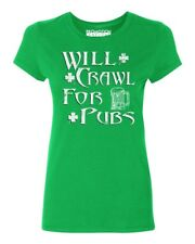 Will Crawl For Pubs Women's T-shirt funny drinking St. Patrick's Day tee