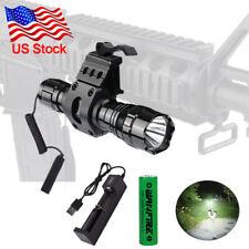 5000lm Tactical Gun Flashlight +Picatinny Rail Mount+Switch for Hunting Shooting