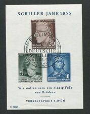 DDR ABART BLOCK 12 IV SCHILLER 1955 ERSTTAG-SONDER-STEMPEL TOP!! Mi 150.- d7024