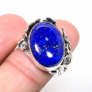 Afgan Lapis Lazuli & White Topaz Gemstone 925 Sterling Silver Ring s.7 T2925