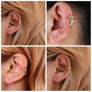 No Pierced Skeleton Finger Hand Pattern Non Piercing Ear Cuff Tragus Earrings