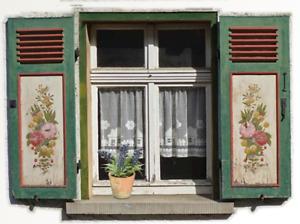 0000 Puppenstube Puppenhaus 4 Fenster Atrappe selbstklebend Landhaus Vintage
