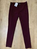 ZARA Trafaluc Burgundy Wine Stretch Leggings/Trousers Ankle Zips Size XS BNWT