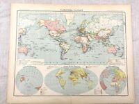 1894 Welt Antik Landkarte Ozean Strömungen Bevölkerung Original 19th Jahrhundert