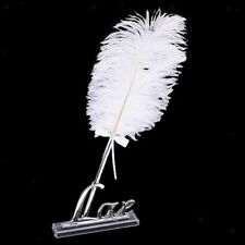 Wedding White Feather Quill Guest Book Signing Pen with Silver Love Holder